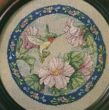 Hummingbird with Hibiscus Blossoms Cross Stitch Pattern Chart from a magaziine