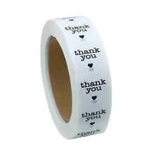 """1"""" Round Natural Thank You Stickers with Black Heart Total 1,000 Adhesive Labels"""