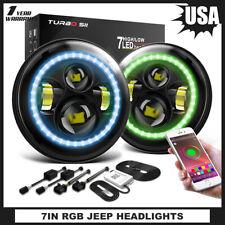 For Jeep Wrangler JK TJ LJ Halo RGB 7'' DOT LED Headlights DRL Lights Combo 2PCS