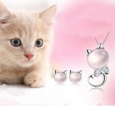 Fashion Women 925 Sterling Silver Kitten Furong Stone Crystal Pendant Necklace
