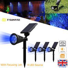 1/2/4 Pack Solar Powered 4 LED Spotlights Wall Flood Lights Outdoor Garden Blue