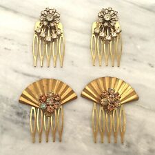 Lot of 4 handmade bridal haircombs with vintage rhinestone jewelry