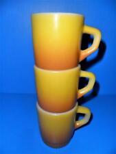 3 FIRE KING ANCHOR HOCKING MUGS Yellow Orange /Gold STACKING COFFEE MUGS Vintage