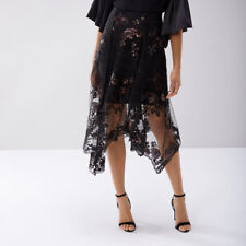 Coast Ruth Black/Multi Lace Embroidered Asymmetric Hem Skirt Size UK 18  (New)