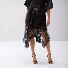 be4426a4a Coast Ruth Black/multi Lace Embroidered Asymmetric Hem Skirt Size UK 14  (new)