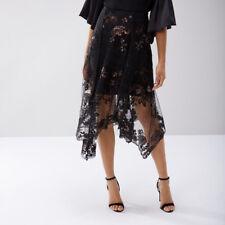Coast Ruth Black/multi Lace Embroidered Asymmetric Hem Skirt Size UK 14 (new)