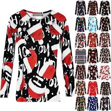 Womens Long Sleeve Round Neck Santa Funny Christmas Xmas Top T-shirt Blouse Tee