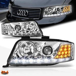 For 02-04 Audi A6 Projector Headlight W/LED DRL Chrome Housing Amber Turn Signal