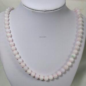 Certified Grade A Pink Jadeite Jade 8mm beads L55cm, Gemstone Necklace