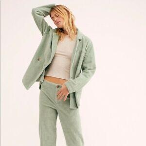NEW Free People Graceland Suit Mint Green Cord pants & Blazer sz Large