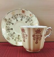 Royal Grafton Yellow Tea Cup / Teacup and Saucer with Gold Flowers