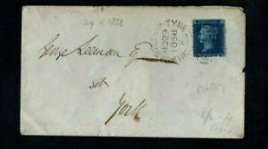 1858. COVER. QV 2d BLUE PLATE No.7. SG No.45. NEWCASTLE SIDEWAYS DUPLEX D/S.