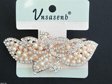 60% OFF! UNSASENB INTRICATE SIMULATED PEARLS W/ RHINESTONES HAIR CLIP #3 P198
