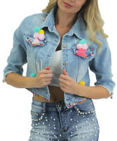 New Womens Girls Waist Length Pom Pom Jean Jacket Light Outwear Ladies Denim Top
