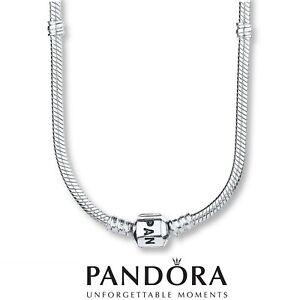 Genuine Pandora moments silver 925 barrel clasp snake chain charm necklace 51cm