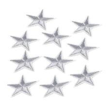 10x Sliver Star Embroidered Sew Iron On Patch Applique Bag Cloth Craft Badge DIY
