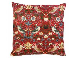 William Morris Gallery Cushions Red Strawberry Thief Minor