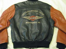 Harley Davidson Leather Jacket Orange Black Milwaukee Bomber Varsity Biker S - M
