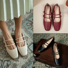 Womens Ladies Square Toe Buckle Strap Mary Jane Low Block Heels Fashion Shoes SZ