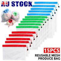 15X Reusable Produce Bags Mesh Grocery Fruit Vegetable Storage Shopping Bag Eco