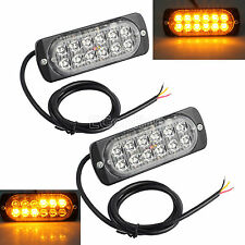 2pcs 12/24v 12LED AMBER RECOVERY STROBE FLASHING LIGHT CREE BREAKDOWN LAMP GRILL