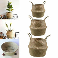 Bamboo Foldable Storage Pot Decoration Flower Vase Yard Basket Garden Plant Bag