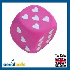 REDUCED...Pink & White Heart Dice Car Aerial Ball Topper or Dashboard Wobbler