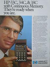 8/1980 PUB HP HEWLETT PACKARD HP CALCULATOR HP-33C 34C CALCULATRICE ORIGINAL AD