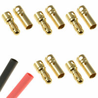 5 x RC 3.5mm Pairs Gold Bullet Connector + Heat Shrink Lipo Battery ESC Motor