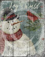 Primitive Snowman Cardinal Christmas Winter  8x10 Print Laser Printed