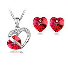 Red Heart Crystal Pendant Necklace Chain and Earrings Wedding Jewellery Set