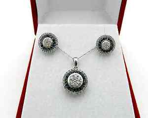 Beautiful Black & White Diamonds Earrings Pendant Chain Set in 10k White Gold