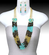 Layered Seed Bead Necklace Set Turquoise Gold Black Lucite Accents Gold Chain