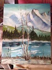birch trees,lake,snow/mountains/Alaska/Rocky Mountains, signed original painting