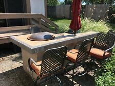 Outdoor propane fire-pit bar with Green Egg grill - umbrella - 4 chairs