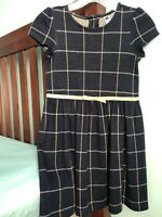 janie and jack Girls Dress Size 8 Navy Gold Plaid