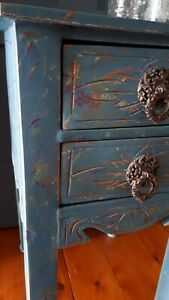 Rustic Characterful Teal Morrocan Funky Boho Side Lamp Table & Drawers