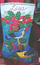 "Bucilla Winter ""Holiday Birds"" Felt Christmas Stocking Kit-OOP Sterilized #84957"