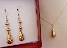 10K Yellow Gold Pendant Necklace Earrings Set Puffy Golden Teardrops 2.7 Grams