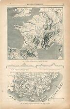 Carte de Géographie en relief Département du Var France GRAVURE OLD PRINT 1874