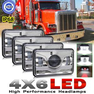 4x 4x6 LED Headlights for Kenworth T800 T400 T600 W900B W900L Classic 120/132 HK