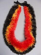 Hawaiian Eyelash Yarn Leis Four Straw Luau Red Yellow Black