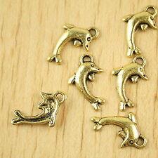 40pcs dark gold-tone dolphin charms h2291