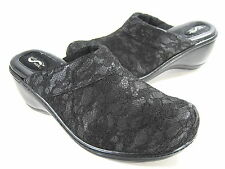 "SOFTWALK WOMEN'S ""MURIETTA"" SLIP-ON CLOG BLACK LACE LEATHER US SIZE 9.5 WIDE (W)"