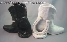 Frankoma Black & White Art Pottery Boot & Horseshoe Bookends