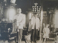 ANTIQUE VERY EARLY AMERICAN BARBER SHAVING MUGS ZEPP'S SIGN WOOD CHAIR OLD PHOTO