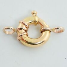 12.5MM 18k Solid Yellow Gold Designer Italy Spring Ring Clasp CLOSED