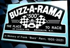 BUZZ-A-RAMA Brooklyn NY • Vintage Style Slot Car Raceway Sticker • Pit Box Decal