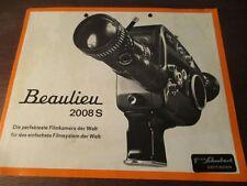 Historique publicité BEAULIEU 2008 S Super 8 Caméra brochure document amateur