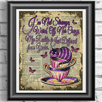 ART Print DICTIONARY ANTIQUE BOOK PAGE Alice in Wonderland Cheshire Cat